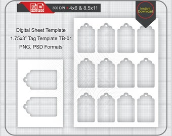 """1.75x3"""" Gift Tag Template Instand Download, Make Your Own Template Png and Psd Formats, Transparent Background"""