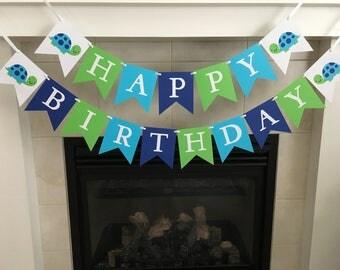 Turtle Birthday Banner, Happy Birthday Banner, Boy Birthday Banner, Turtle Party Decorations, First Birthday, Photo Prop
