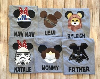Family Shirts- Star Wars -Set of 6 FAMILy PACk - You choose the character for each shirt with One FREE Name- YoU cHOOSE the CHARACTER