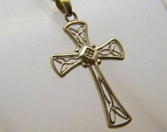 RJ sterling silver diamond cross pendant #16