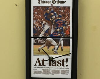 Chicago Cubs Clock, Chicago Tribune Clock, Battery Clock, Wall Clock, Cubs Wall Clock, Chicago Cubs Wall Clock, Cubs Gift, Shower Gift