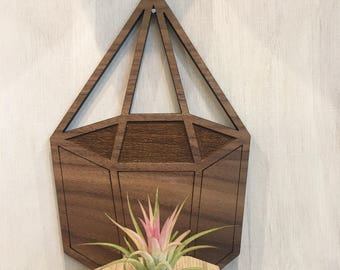 Geometric real walnut faced wood terrarium hanging wall planter