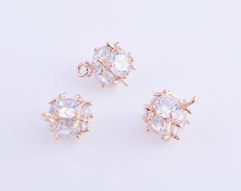 2pcs dainty charm/pendant/beads, CZ cubic zircon beads for earings/charm/pendant/necklace/bracelet,14k gold,rose gold and rhodium colors