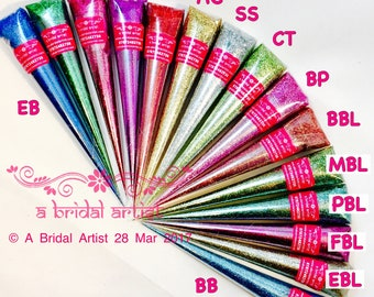 Glitter Gel Henna/Mehndi Cones 12g for Body Art and/or Crafts