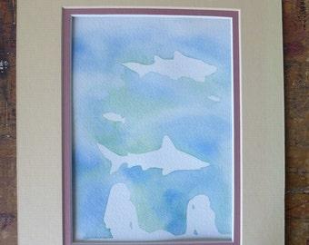 Shark Watercolor Painting, Original Art, Hammerhead, with mat, Good Cause Item, girls Room, Shark Lover, Donation, Animal Rescue, Ocean