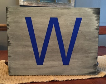 "Chicago Cubs Flying ""W"" wooden sign"