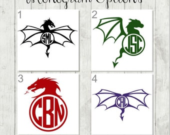 Dragon Monogram Decal - Personalized Dragon Decal - Dragon Party Favors - Dragon Laptop Decal - Personalized Dragon Gift -  Dragon Car Decal