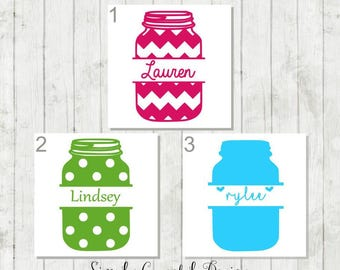 Monogrammed Mason Jar Decal - Custom Mason Jar Decal - Mason Jar Car Decal - Mason Jar Monogram Sticker - Mason Jar Name Decal - Mason Jar