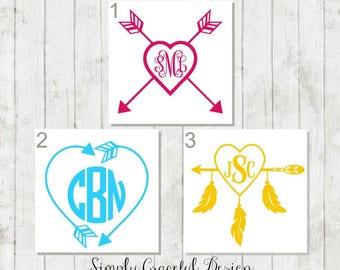 Heart Arrow Monogram Decal - Heart Feather Monogram Decal - Arrow Monogram Decal - Custom Feather Decal - Heart Monogram - Arrow Car Decal