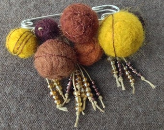 brooch brown red yellow mustard Silver gift hand made embroidered wool felt