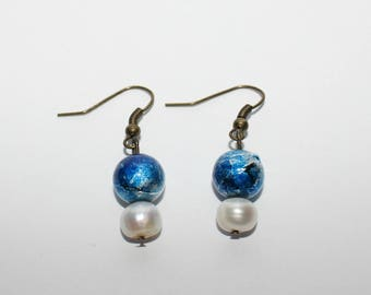 Faux Pearl and Blue Bead Earrings