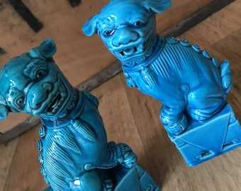 Stunning PAIR of Vintage Chinese FOO DOGS - Temple Lions - Turquoise Foo Dogs - lion chic - similar to Bitossi style