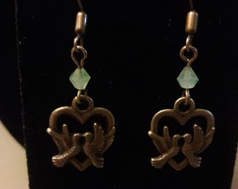 Hearts and birds earrings
