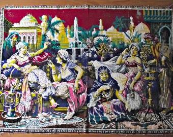 Vintage Velvet Tapestry, Velour Wall Hanging, Wall Tapestry, Oriental Scenic Tapestry, Vintage Home Decor, fiber art