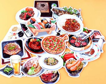 28pc Dinner Party- Japanese scrapbooking stickers,scrapbooking,decorative stickers, japanese stickers,decor stickers,kawaii stickers