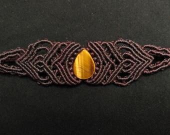 TIGER'S EYE macrame bracelet, macrame bracelet, spiritual jewelry, handmade jewelry, Bohemian gemstone bracelet.