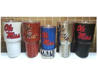 YETI - Authentic - Ole Miss Rebels Yeti Cup 20 oz or 30 oz Rambler Tumbler Large Yeti Cup Mug Student Grad gift University of Mississippi