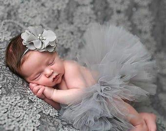 Grey Newborn Headband And Tutu - Newborn Photography - Newborn Photo Props