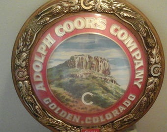 Vintage 1970 Adolph Coors Company Golden Colorado Round Wall Sign