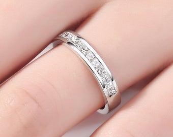 White gold wedding band, princess cut wedding Band,Princess Diamond Wedding ring, Half eternity Band Channel Set Anniversary Ring