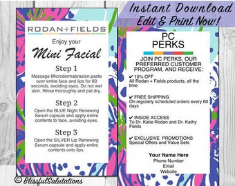 Randf Business Cards - Rodan and Fields Mini Facial Cards - Lash Boost Cards - Editable Contact Information - Instant Download - Edit & Prin