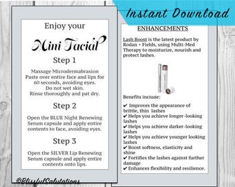 rodan and fields mini facial cards - ready to print - randf business - DIY - lash boost cards - instant download
