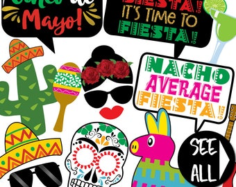 Cinco De Mayo Photo Booth Props - 32 Printable Party Props, Mexican Fiesta, Nacho, Taco, Tequila, Margarita, Sombrero - INSTANT PDF DOWNLOAD