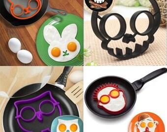 Set of 4 Egg Mold Rings (Owl, Skull, Guy, Rabbit)