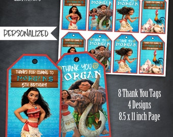 Moana Thank You Tags, Moana Tags, Birthday Favors, Moana Party, Moana Birthday Party, Moana and Maui, Personalized, Printables