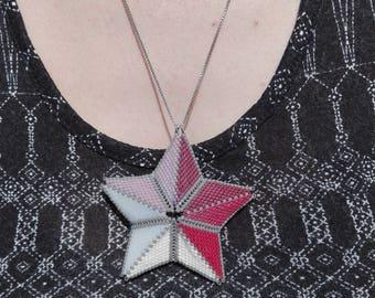 Necklace silver chain and woven star miyuki