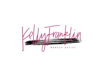 Pink Makeup Artist Logo Design / Photography Logo and Watermarks / Event Planner Logo / Brush Stroke Logo / Mascara Stroke / Signature Logo