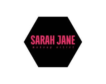 Hot Pink Hexagon Logo / Geometric Logo / Hot Pink Logo / Makeup Artist Logo / Modern Logo / Event Planner Logo Design / Minimalist Logo