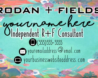 Turquoise Floral Rodan + Fields Business Card