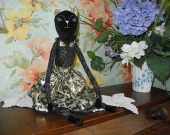 Tilda cat doll. Gift doll. Handmade gift art doll.