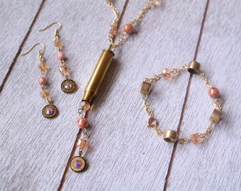 Champagne Multi-Layered Rosary Chain Bullet Necklace and Jewelry Set