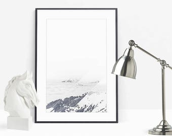 Snow Prints, Alpine Digital Prints, Fog Mountain, Nature Landscape Photography, Printable Modern, Minimalist White, Contemporary Art Poster