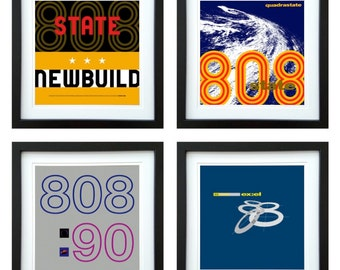 808 State - Framed Album Art - Set of 4 Images