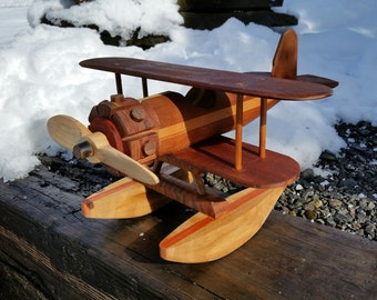 Wooden float plane with mahogany body