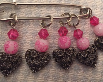 Flowering Hearts Stitch Markers