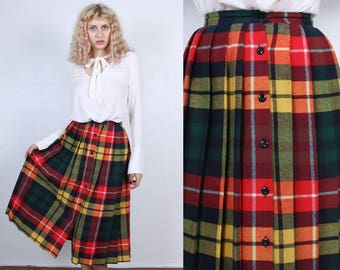 70s Plaid Skirt // Vintage Pleated Button Up Skirt Schoolgirl - Extra Small xs