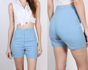 60s High Waisted Shorts // Vintage Baby Blue Shorts - Extra Small xs to Small