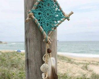 Unique handmade boho beachy turquoise crochet dream catcher/wall hanger