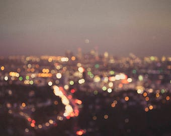 Los Angeles at night photography, Los Angeles photography, travel  photography, dreamy , night,bokeh, LA at night, abstract decor, modern