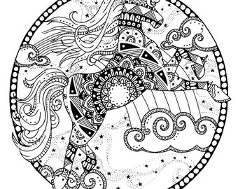 unicorn coloring page for adults mandala adult coloring page unicorn adult coloring page