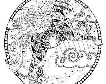 unicorn coloring | etsy - Art Nouveau Unicorn Coloring Pages