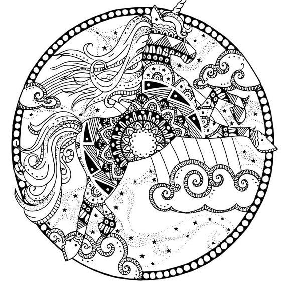 unicorn coloring page for adults mandala adult coloring page. Black Bedroom Furniture Sets. Home Design Ideas