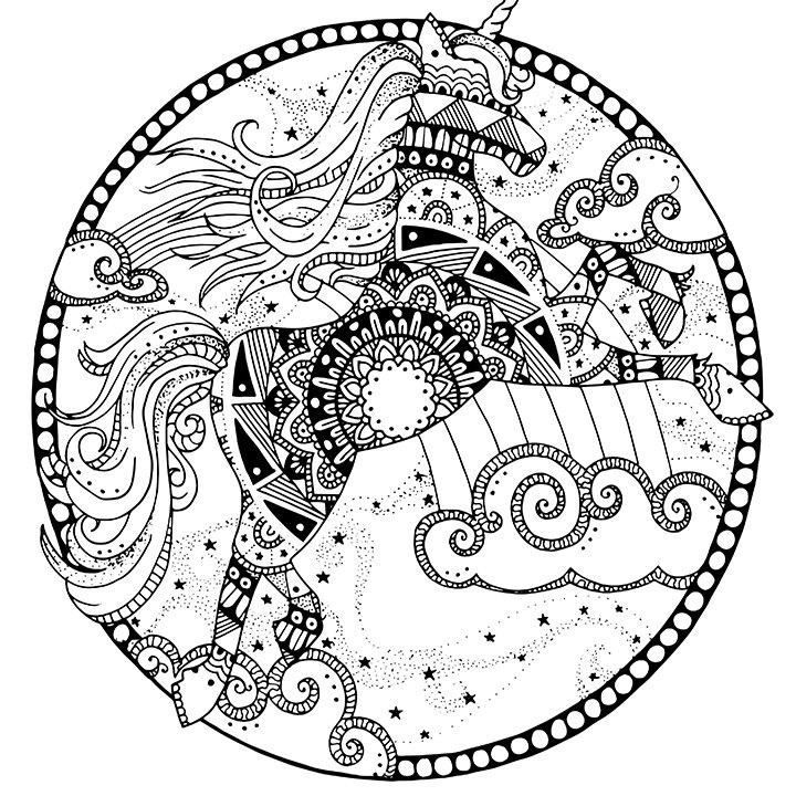 unicorn pagina voor volwassenen volwassen kleurplaat mandala