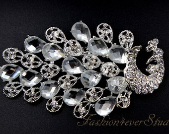 4 inches Rhinestone Silver Brooch, Crystal Brooch with Pin On The Back, Silver Brooch, Wedding Jewelry, Wedding Accessories