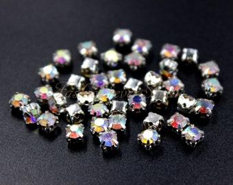 100pcs Sew On Crystal AB Chaton Montees, 4mm 5mm Sew On Rhinestones, FlatBack Rhinestone, Sew On Beads, Sew On Crystal, Embellishment Gems