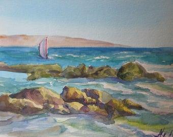 Seascape, watercolor seascape, sea watercolor, marine painting, original art wall decor, gift idea, Marine Art